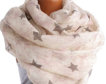 Pink Tie Dye Infinity scarf with Grey Stars -   lightweight Rayon Shawl Scarves schal Spring Soft Boho Chevron Loop Sky Universe Summer Gift