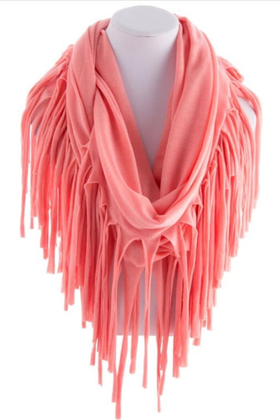 coral fringed infinity scarf loop scarf circle by scarvesscene