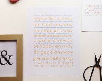 You & Them Mother Theresa Quote Print
