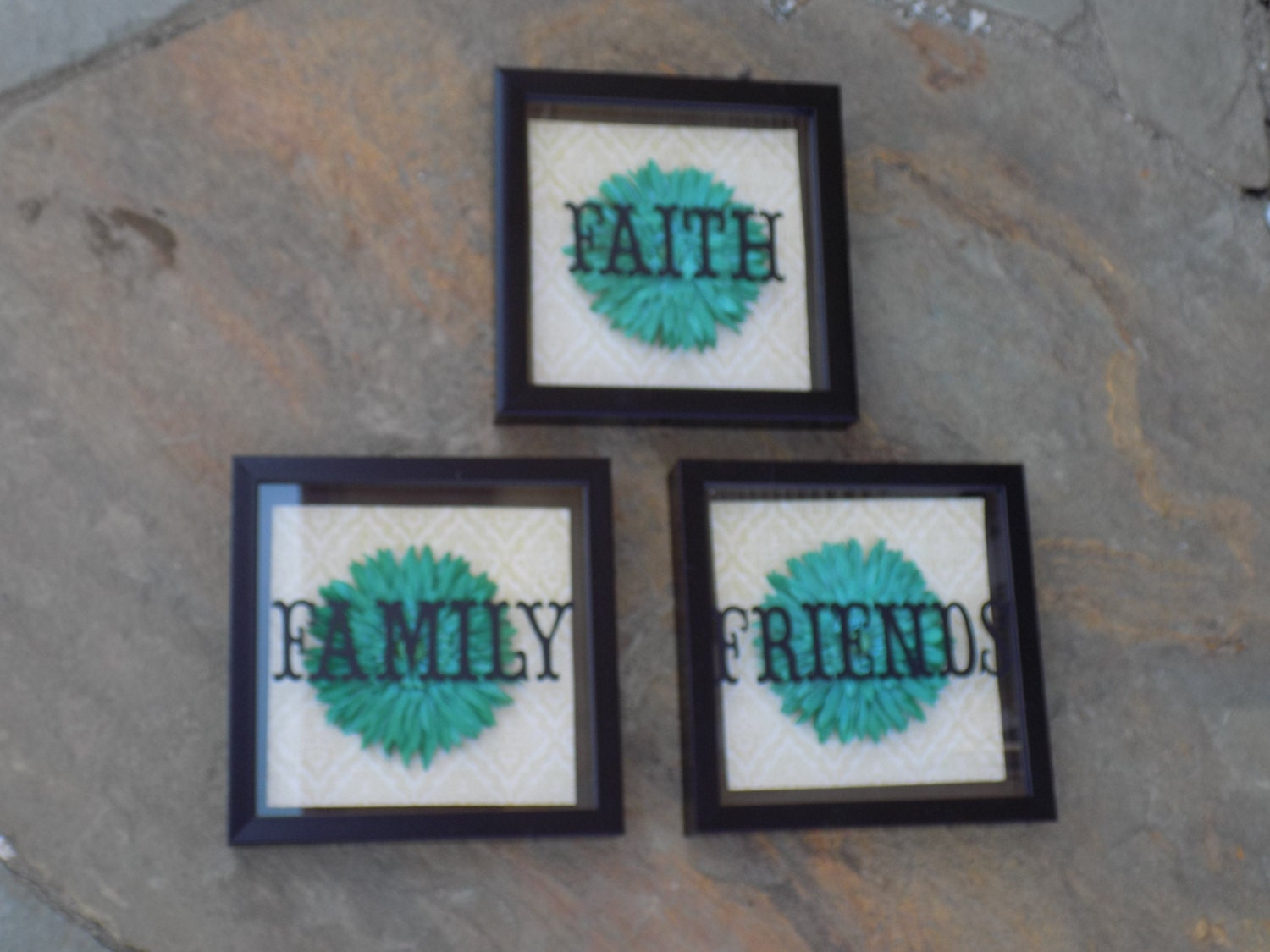 Wall Art Shadow Box : Floral wall decor faith family friends shadow box art