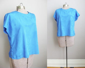 Vintage Silky Top Peacock Blue Brocade Floral Print Short Sleeve T-Shirt Slouchy Relaxed / Large