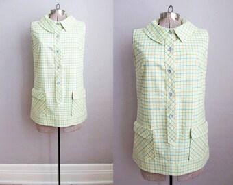 1960s Mini Dress / 60s Dress / Yellow Dress Jumper Green Plaid / Medium