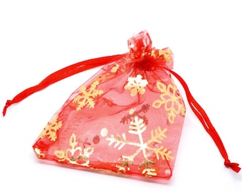 10 Pieces Red Christmas Snowflake Drawable Organza Bags 12x9cm