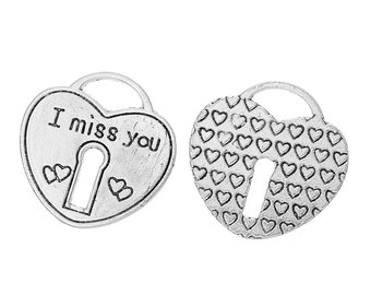 "2 Pieces Antique Silver Large Heart Lock ""I Miss You"" Carved Charms"