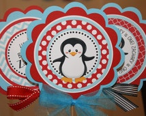 Penguin Centerpiece Sticks, Red Penguin Birthday Table Decorations, Penguin Birthday Party Decor