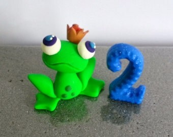 Frog Prince Cake Topper, Custom Clay Keepsake, Birthday Cake topper, Baby Shower Cake Topper, Babies First Keepsake, Prince Theme, Frogs