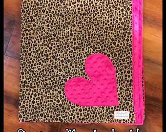 Leopard heart Baby blanket with hot pink minky dot