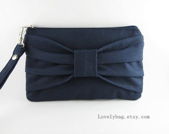 SUPER SALE - Navy Clutch - iPhone 5 Wallet, iPhone Wristlet, Cell Phone Wristlet, Cosmetic Bag, Camera Bag,Zipper Pouch - Made To Order