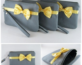 SUPER SALE - Set of 7 Gray with Little Yellow Bow Clutches - Bridal Clutches, Bridesmaid Bag, Wedding Gift, Zipper Pouch - Made To Order