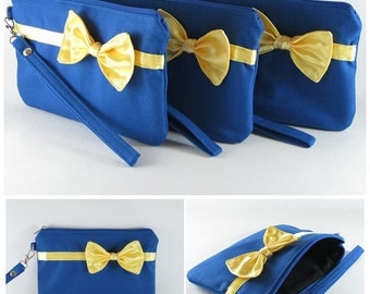 SUPER SALE - Set of 6 Royal Blue with Little Yellow Bow Clutches - Bridal Clutches, Bridesmaid Bag,Wedding Gift,Zipper Pouch - Made To Order