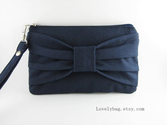 SUPER SALE - Navy Blue Clutch - iPhone 5 Wallet, iPhone Wristlet, Cell Phone Wristlet, Cosmetic Bag, Camera Bag,Zipper Pouch - Made To Order