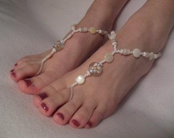 White Flower Barefoot Sandals