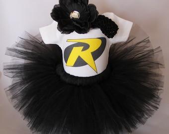 Yellow Robin Inspired Tutu Set - Super Hero Bodysuit Set - Baby Batgirl - Bat Man Inspired Baby's Tutu - Superhero Bodysuit - *MS1505