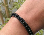 Wrap Leather Bracelet-black with black rocailles-dark elegance, gothic