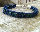 Wrap Leather Bracelet-dark blue with iridescent rocailles-Ocean