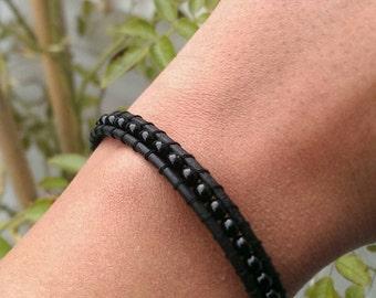 Wrap Leather Bracelet-black with black rocailles-dark elegance, gothic