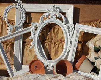 Set Of 5 Shabby Chic Picture Frames/Custom Made Picture Frames/Wall Frames/Distressed Rustic Frame Set