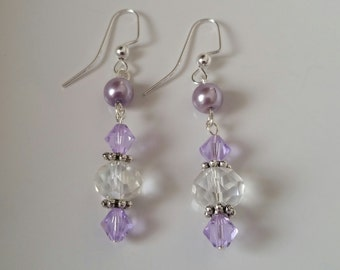 Lavender Earrings, Swarovski earrings, purple earrings, dangle earrings