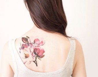 Magnolia Temporary Tattoo, flower tattoo, Extra Large tattoo -  perseverance, dignity, love of nature