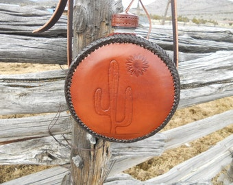 desert 2 qt. canteen leather covered water canteen