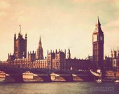 London photograph, retro photography, London art, Big Ben, England, pastels - Parliament