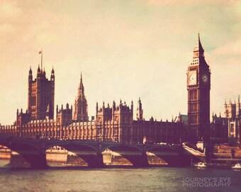 London photograph, retro photography, London art, Big Ben, England, pastels - Parliament