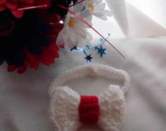Crochet Baby Red and White Bow Tie (0-3 months), Newborn Boys Patriotic Bowtie, Infant Fourth of July Photo Prop