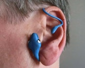 Blue snake adjustable ear wrap earrings/ Polymer clay snake head and tail with plastic iron wire/ make it your size