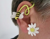 White yellow flower and bee wrap Fimo adjustabel earring/ polymer clay flower and bee on plastic iron wire/ make it your size/ just one left