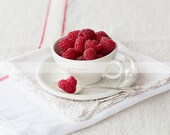 Morning Raspberries #8 - Kitchen Art - Red - Heart - Original 4x6 Fine Art Print