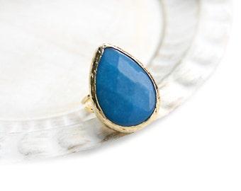 Adjustable Teardrop Bright Blue Jade Stone Gold Plated Ring
