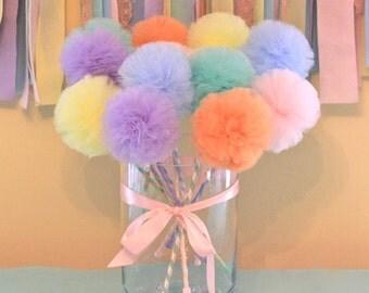 Tulle Pom Pom wands, PREMIUM Pastel Rainbow Wands Fairy Princess Wands, Princess Wand, Party Favors, Party Centerpiece, 10 Pc Set