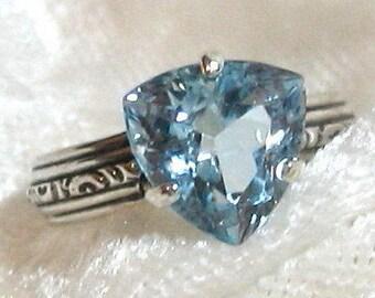 Sky Blue Topaz Ring, Blue Topaz Trillion Ring 3.76ct. 10mm 925 Sterling Silver Size 7-7.5