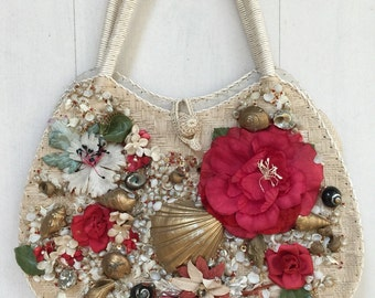 1950s Flowers And Seashells Straw Handbag Vintage Purse Japan