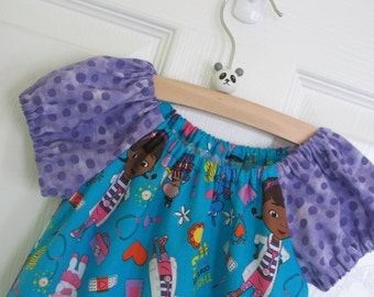 Peasant Dress-Doc McStuffins-Turquoise w/lavender border-Size 3 Ready to ship or Made to Order a size-Disney