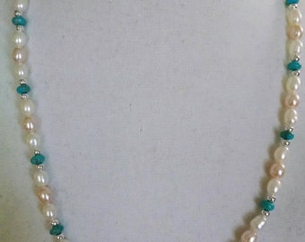 Pearls with Turquoise Necklace
