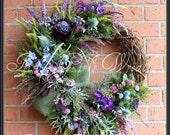 MADE TO ORDER Large Heather Covered Scottish Highland Bluebell Coastal Wreath, Scotland Coast, thistle, Purple, lavender, Celtic