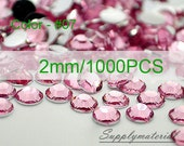 2mm/1000pcs Pink Flatback Rhinestone Crystal accessories material supplies
