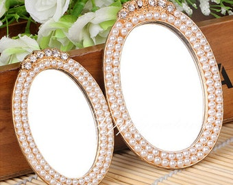 1PCS Golden Pearl Oval mirror Alloy accessories handmade DIY materials Jewelry supplies