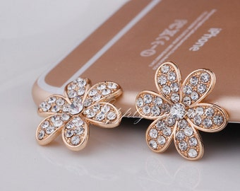 5PCS Bling Crystal flowers Alloy Flatback accessories handmade DIY materials Jewelry supplies