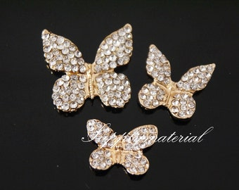 3pcs/Lot Bling Golden Crystal Butterfly Flatback Alloy jewelry accessories materials supplies