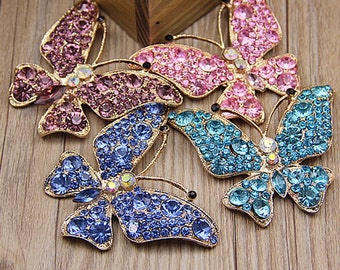 1pcs 70x60mm Bling Crystal Butterfly Flatback Alloy jewelry accessories materials supplies