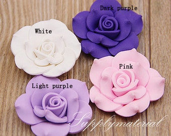 2pcs 40MM Rose Flowers Flatback resin jewelry accessories supplies
