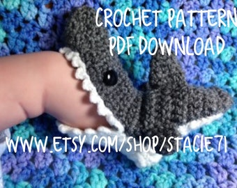 PATTERN for crocheted Shark Slipper Socks- Baby, Child, and Adult Sizes in ENGLISH only