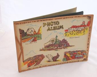 Western Theme Souvenir Children Travel Photo Album, Scrapebook Nostalgic America Travel Sites, Mid Century Vinyl Collection Book