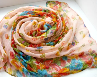Floral Scarf, Cotton Scarf, Handmade scarf, Woman's Scarf, Gift for Her, Gift for Girlfriend