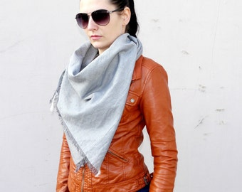 Grey Cotton Scarf, Square Scarf, Oversized Scarf, Fashion Accessories, Gift Idea For Her, Scarf for Her