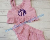 Girls Monogram Swimsuit, One Shoulder  Seersucker Swimsuit, Monogram Two Piece, New Style - 2015