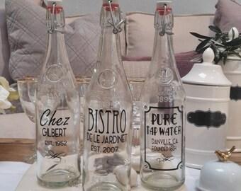 Retro FRENCH BISTRO Water Bottle Drink Glass Bottle Vintage Juice Bottle Juice Jar PERSONALIZED Drink Jug 750ml 34oz Custom Water Bottle One