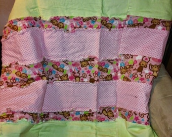 Monkeys- Baby Girl Flannel Rag Quilt - Free Shipping